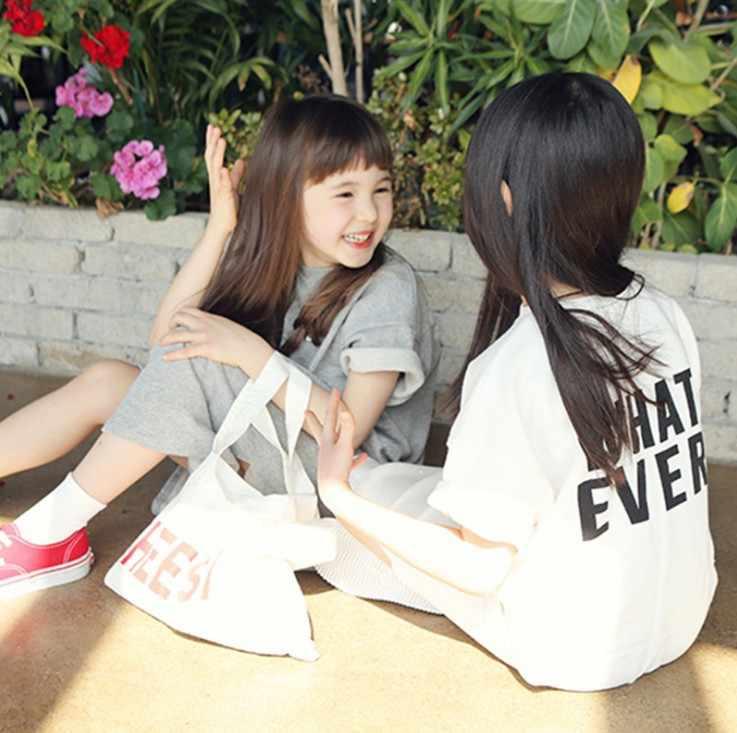Ropa De La Hermana Pequeña Edad Para Los Niños De 2 18 Años Vestido Casual De La Camiseta Del Estilo Irregular Vestido Largo 2019 Nuevo Verano Niños