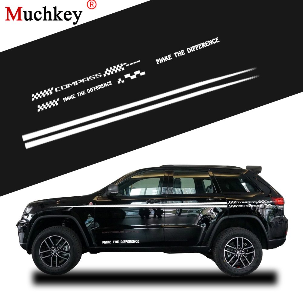 Custom car decals for jeep compass car side body decal sticker for hatchback sedan suv decals diy car decoration auto part 280cm in car stickers from