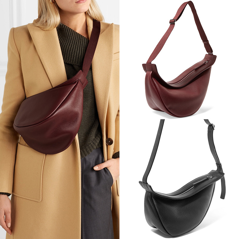 [BXX] 2021 Spring Woman New Wine Red Black Color Wide Single Strap Zipper Half Moon PU Leather Chest Bag All Match LI812