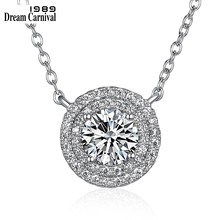 DreamCarnival 1989 Cutie Round Pendant Girls Gifts Wholesales Price Thin Chain 925 Sterling Silver Necklace for Women SN05902R(China)