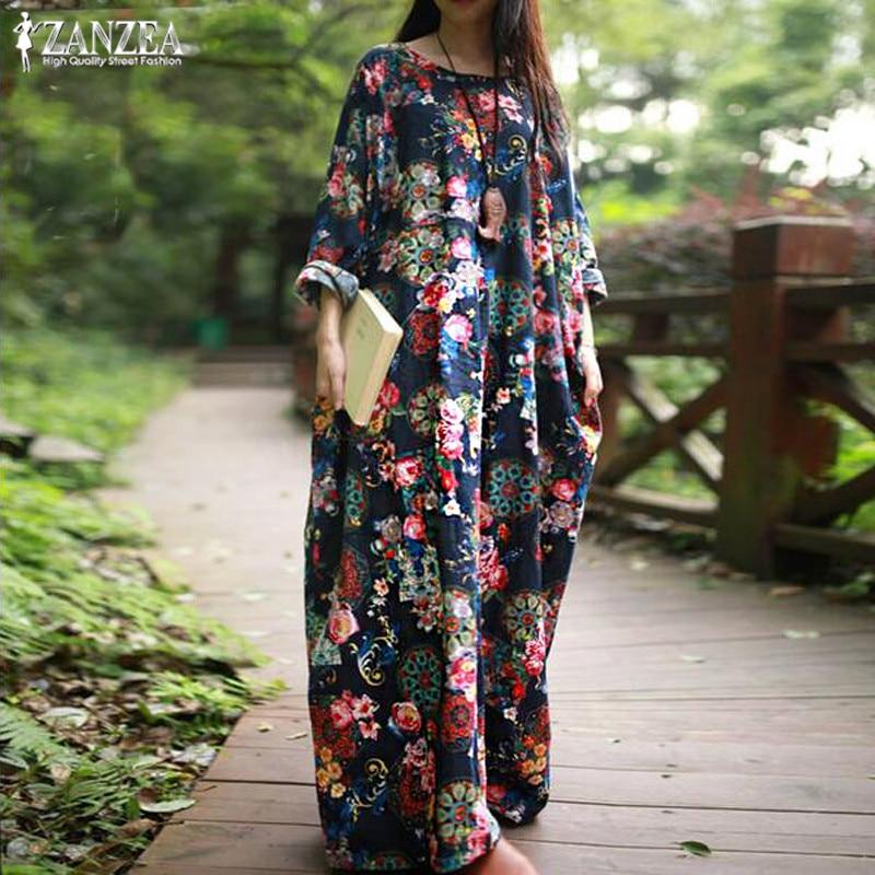ZANZEA Women Maxi Long Dress 2019 Vintage Floral Print Dresses Long Sleeve Pockets Casual Loose Vestidos Plus Size