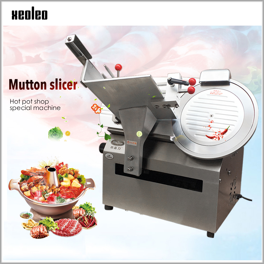 XEOLEO Electric Meat Slicer Cut Mutton Roll Slicer Automatic Stainless Steel Meat Slice Machine 6000pc/H Slicing Machine 14inch