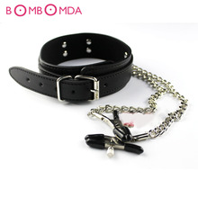 Slave Collar & Nipple Clamps Leather Necklace Adult Games Sex Products For Woman, Bdsm Bondage Erotic Sex Toys For Couples O3