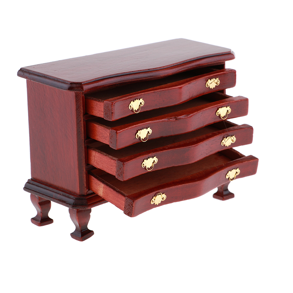 1/12 Dollhouse Miniature Living Room Wooden Annatto Color 4-Drawer Cabinet Furniture Model For Dollhouse Living Room Accessories