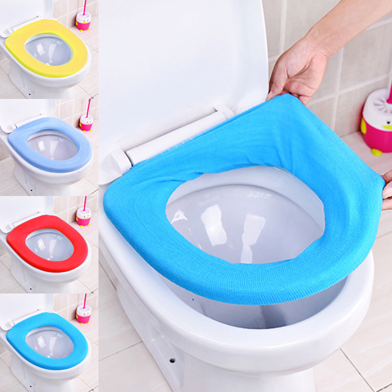 Washable Soft Closestool Lid Top Cover Bathroom Warmer Toilet Seat Random Color