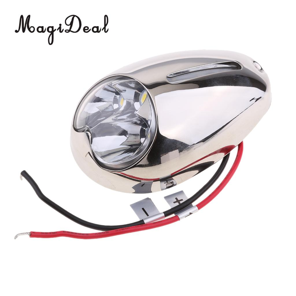 MagiDeal Stainless Steel LED Boat Marine Yacht Bow Docking Light Surface Mount for Kayak Canoe Fishing Dinghy Accessories new stainless steel fishing boat transom launching wheel for inflatable boat dinghy yacht raft trolley kayak accessories