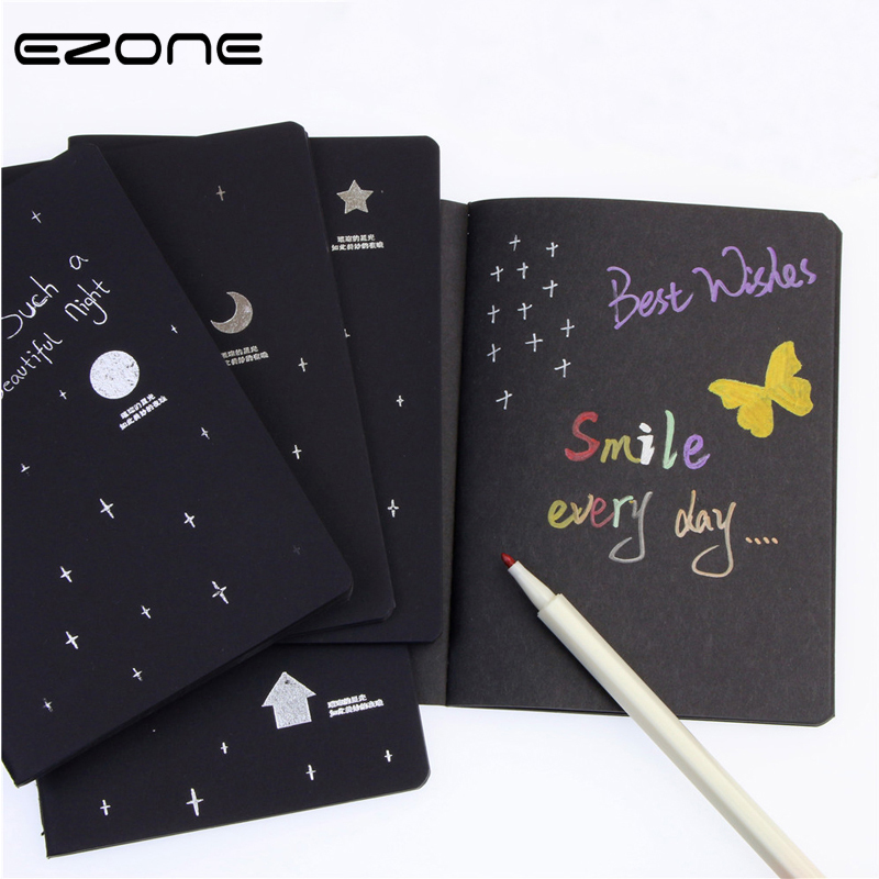EZONE Black Page Notebook Painting Graffiti 28 Sheets Creative Drawing Book For Children 10 Colors Marker Pen Sketchbook 14*13cm