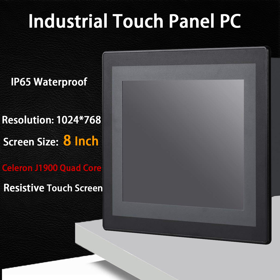 8 Inch LED IP65 Industrial Touch Panel PC,All In One Computer,Resistive Touch Screen,Windows 7/Linux,Intel J1900,[HUNSN DA17W]