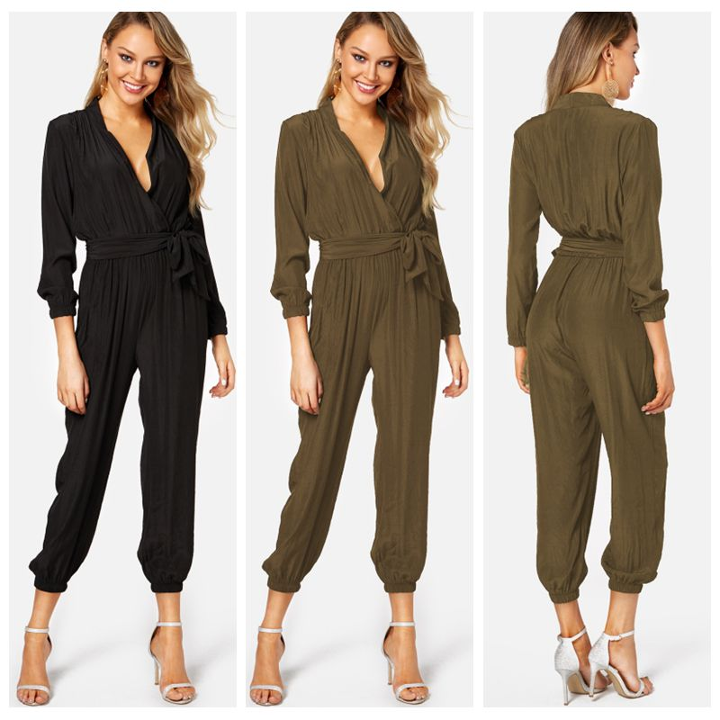 YOINS Solid Deep Sexy   Jumpsuit   Romper 2019 Women Casual Loose Long Sleeves V Neck Overalls High-Waist Playsuit Long Pants