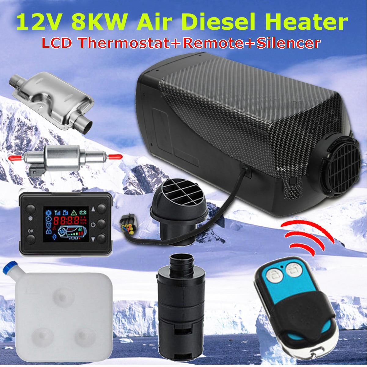 12 V 8000 W Monitor LCD Ar diesel Aquecedor De Combustível Único Furo 8KW Para Ônibus Barco Aquecedor Do Carro Com Controle Remoto controle e Silenciador Para livre