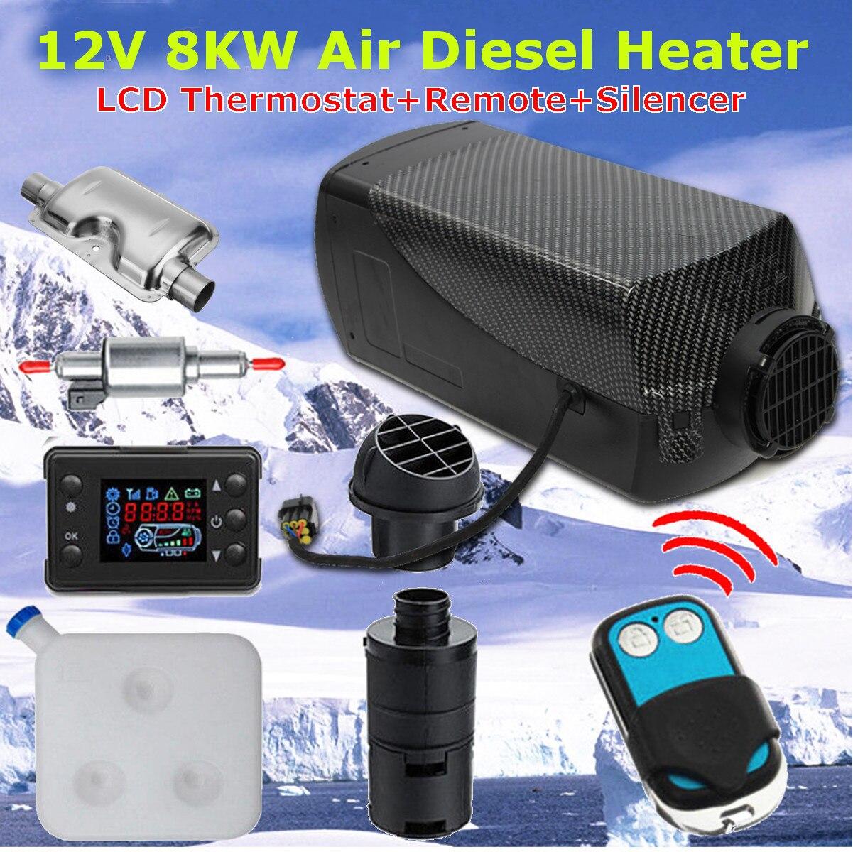 12V 8000W Monitor LCD Ar diesel Aquecedor De Combustível Único Furo 8KW Para Ônibus Barco Aquecedor Do Carro Com Controle Remoto controle e Silenciador Para livre
