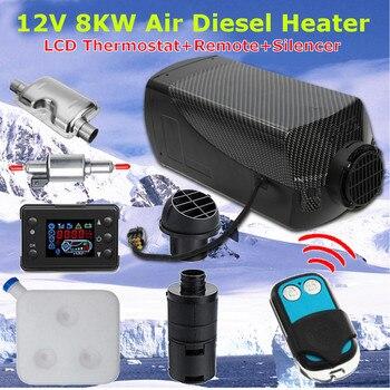 12V 8000W Monitor LCD Aria diesel di Riscaldamento a Combustibile Singolo Foro 8KW Per La Barca Bus Auto Riscaldatore Con Telecomando di controllo e Silenziatore Per trasporto