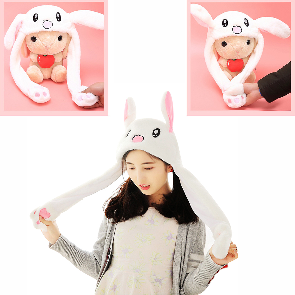 Drop Ship Cute Rabbit Hat Ear Will Move When You Hold The Leg Funny Plush Hat Toy Creative Moving Rabbit Hat Toiletry Kits