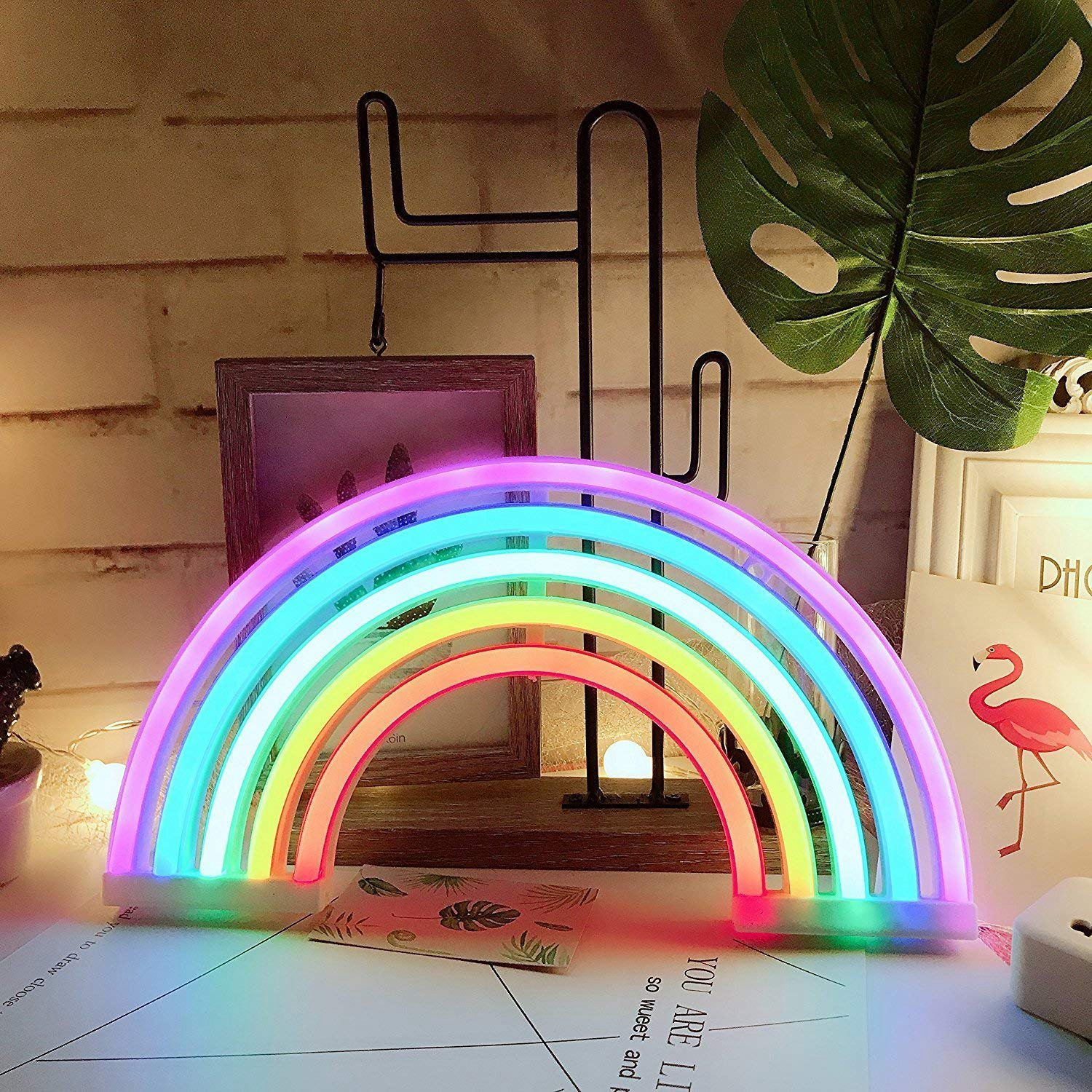 Creative Cute Rainbow Neon Sign LED Rainbow Light/Lamp for Dorm Decor Rainbow Neon Lamps Wall Decor for Girls Bedroom Chistmas image