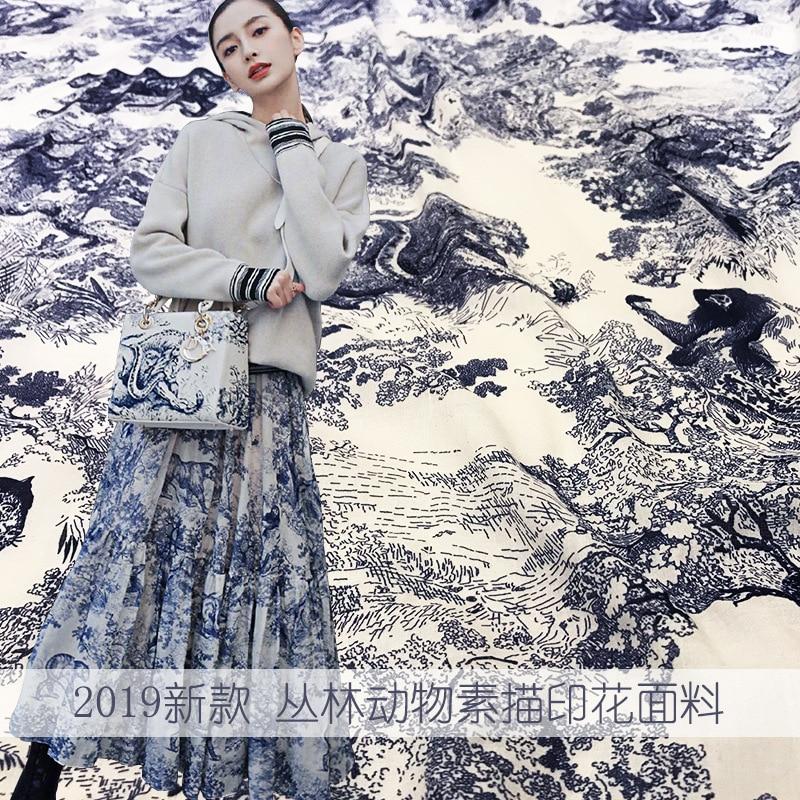 FäHig 2019 Frühjahr Neue Dschungel Tier Skizze Muster Baumwolle Gedruckt Stoff Kleid Shirt Mode Material Schöne Drei Farben Zu Den Ersten äHnlichen Produkten ZäHlen