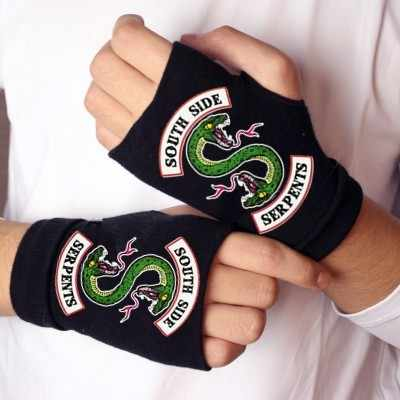 RIVERDALE Glove South Side Serpents Symbol Knitted Fingerless Glove Half Mitten Winter Gloves Women Cosplay