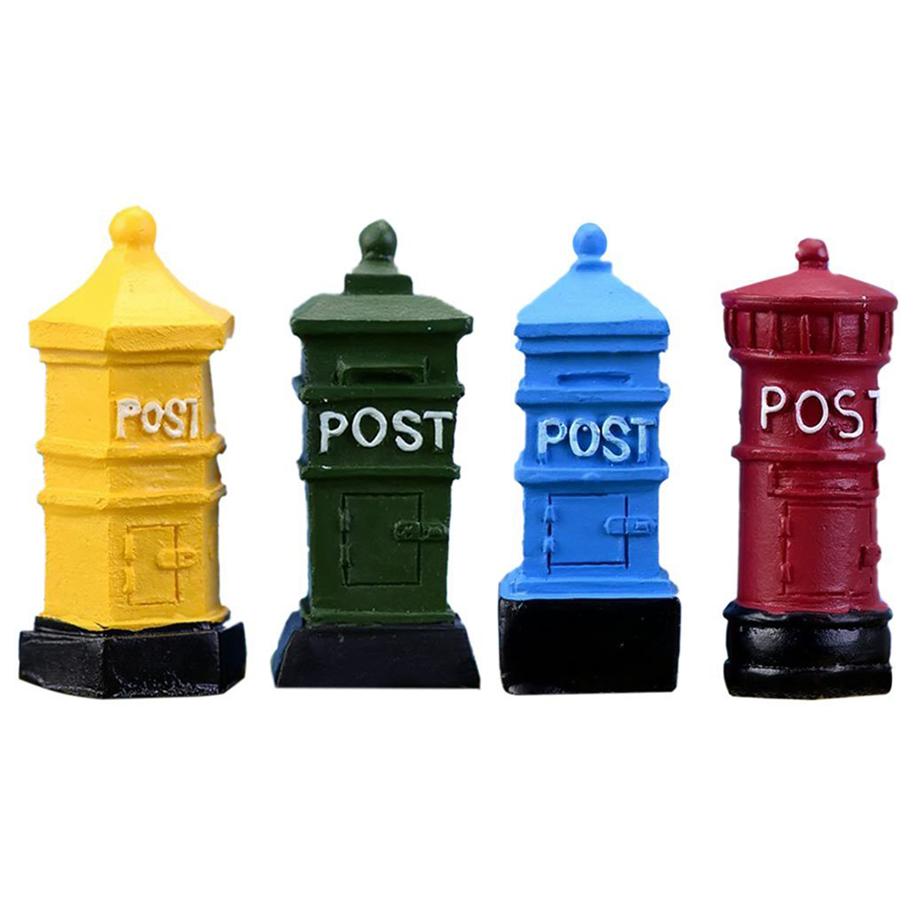 4 PCs Miniature Fairy Garden Mailbox Postbox Style Dollhouse DIY Micro-Landscape Terrarium Plant Pot Desk Home Decor Ornament