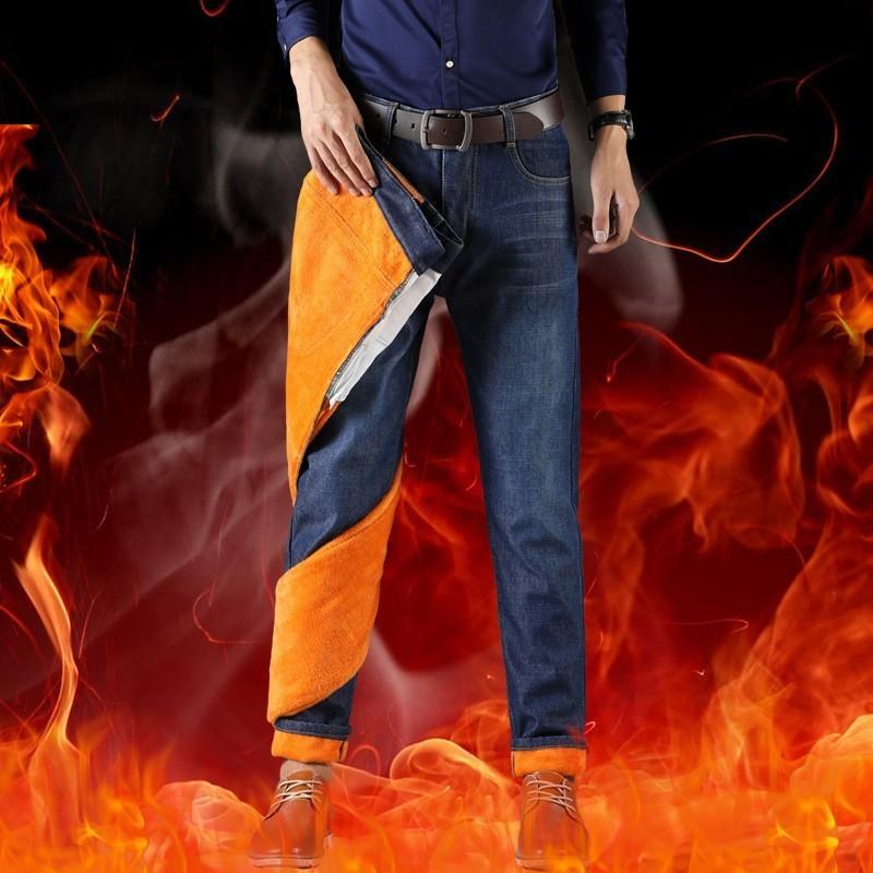 Zollrfea Winter Warm Fleece Men's   Jeans   Thick Stretch Denim Straight Fit Trousers Male Brand Cotton Pants Men Large Size CB0016