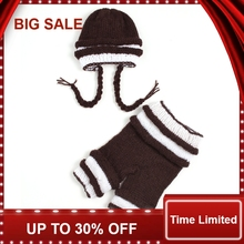 купить New Infant Brown Knitted Cotton Crochet Costume red hat shoes boots Photo baby Photography Prop Newborn baby clothes pant &  hat дешево
