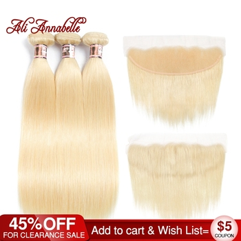 Ali Annabelle Hair Brazilian Straight 3 Bundles With 13*4 Lace Frontal Closure 100% Human Hair Weaving 613 Blonde Remy Hair Велюр