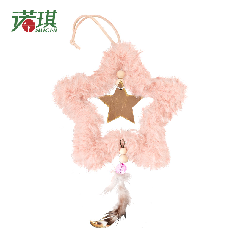 Nuchi New Pink Fluff Heart Christmas Tree Cute Plush Christmas Decoration Pendant Creative Tree Ornaments Christmas Decoration