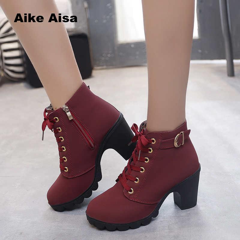 Pumps Martin-Shoes Ankle-Boots Snow High-Heels A05 Warm Waterproof Botas Plus-Size Winter
