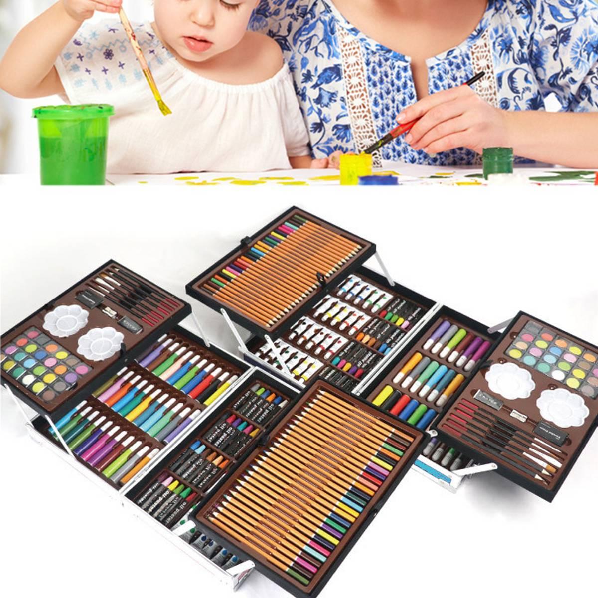 Artiste Coloré Crayons Ensembles Couleur Art Professionnel Croquis ensemble pour dessiner Coloration stylo de peinture kit de pinceaux avec Boîte En Bois Cadeau 145 pièces