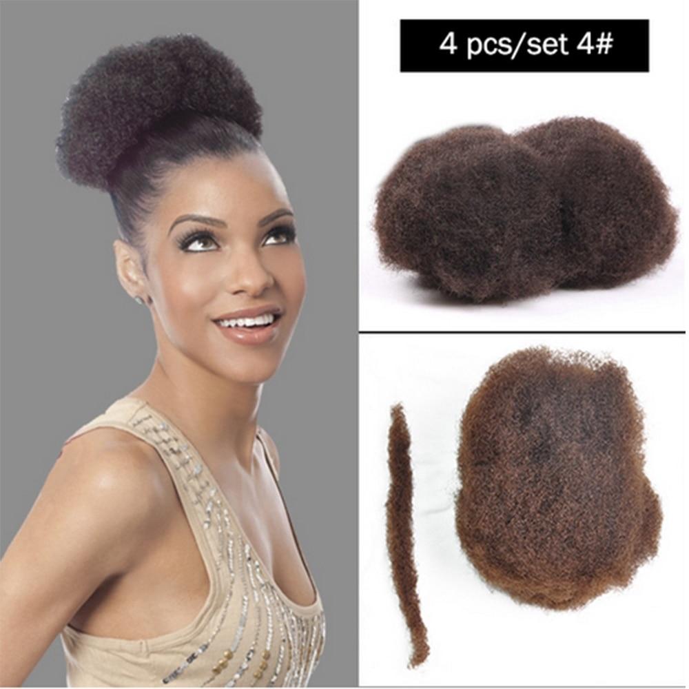 YONNA 4PCS/LOT TIGHT AFRO KINKY BULK HAIR 100% HUMAN HAIR FOR DREADLOCKS,TWIST BRAIDS DARK BROWN 2# AND 4#,LENGTH 8