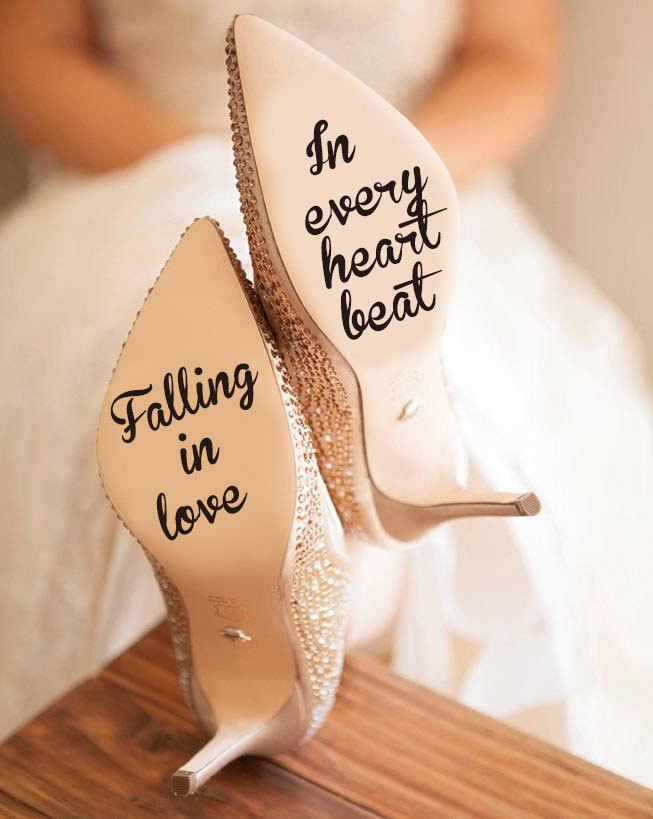 Tomber amoureux dans chaque coeur battre décalcomanie pour toujours ensemble vinyle autocollant, infini amour décalcomanie, cadeau de mariage pour mariée chaussures décor