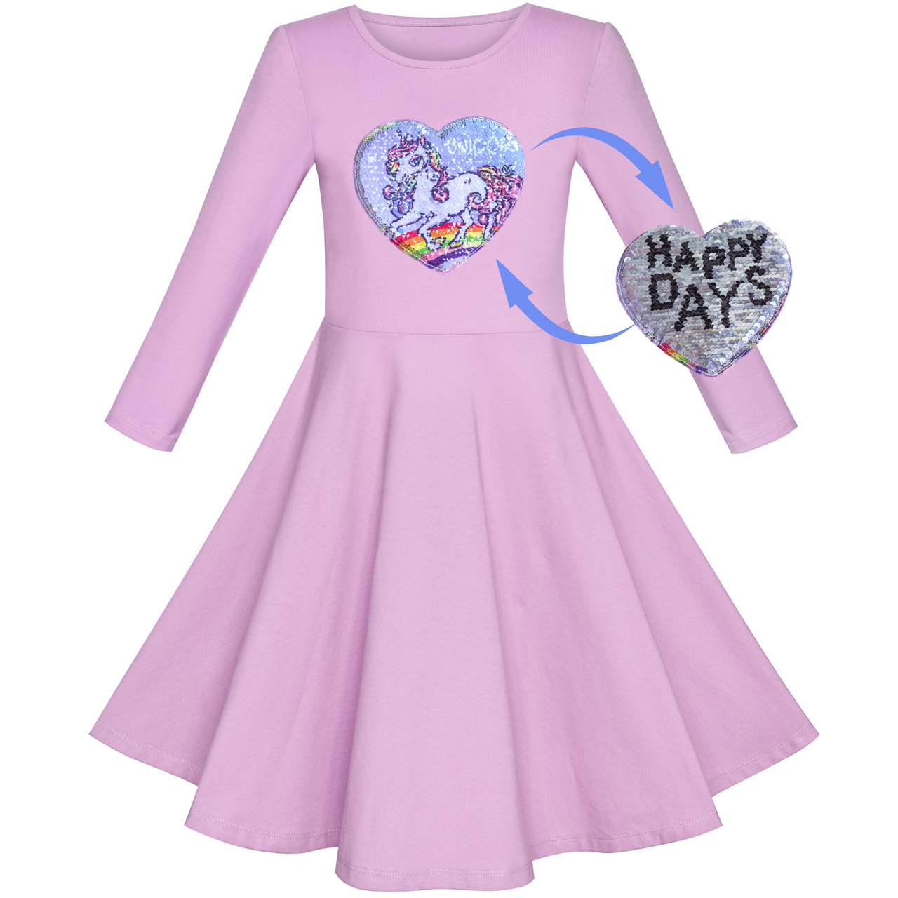 Girls Dress Cotton Purple Unicorn Sequin Short Sleeve Casual 2019 Summer  Princess Wedding Party Dresses Kids Clothes Pageant-in Dresses from Mother    Kids ... 892512984d65