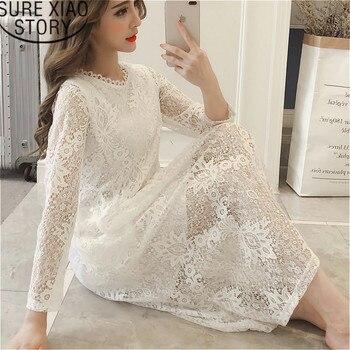 1ff3c460360ab Kadın elbise 2019 dantel uzun kollu elbise Kore A-Line Katı zarif beyaz ve siyah  elbise O-Boyun yüksek bel Tam elbise 2610 50