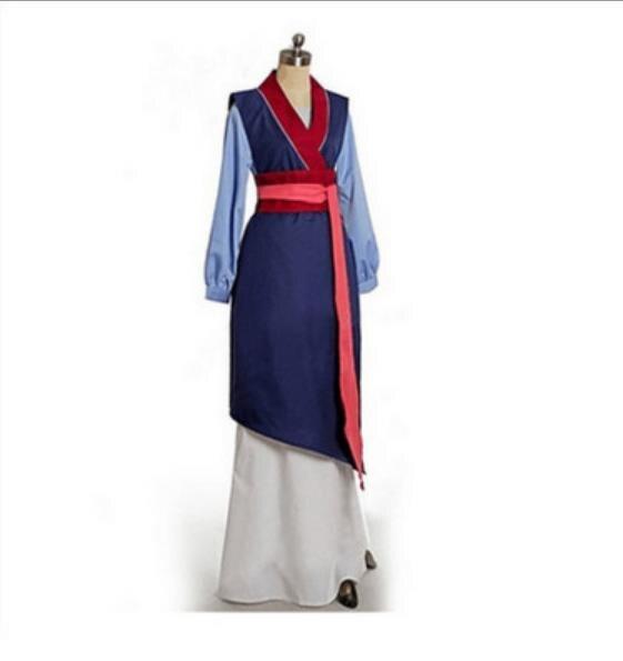 Princese CosGeneral Hua Mulan Cosplay Costume Han Chinese Clothing Blue Dress