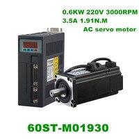 60ST M01930 220V 600W 3000RPM AC Servo motor 1.91N.M. Single Phase ac servomotor drive permanent magnet Matched Driver
