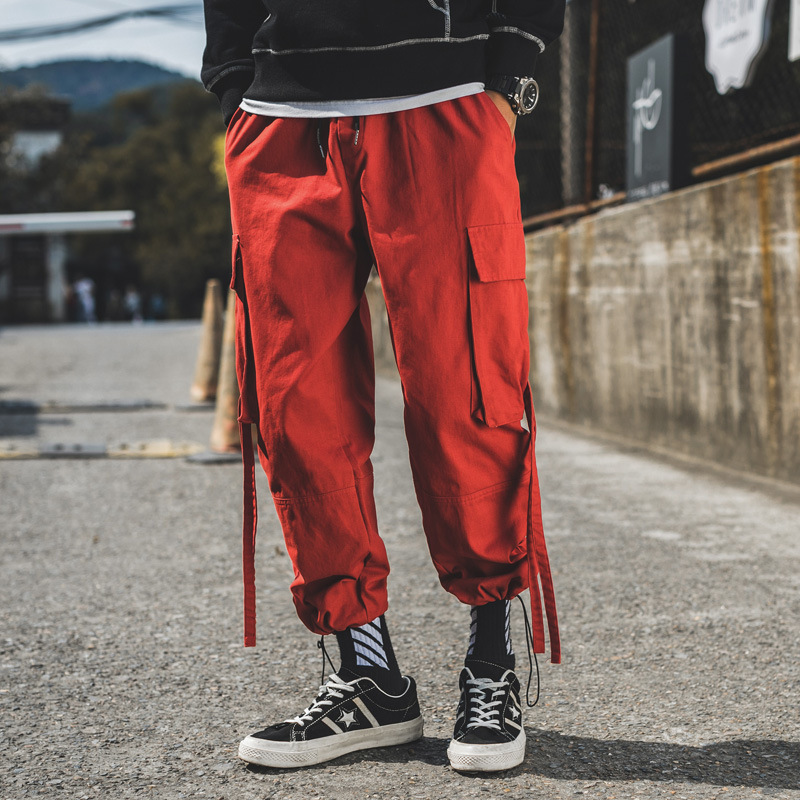 f50bb8682f5  2505 Cargo Pants Men Hip Hop 5XL Plus Size Loose Red Black Grey Side  Pockets Ribbons Joggers Mens Cargo Trousers Streetwear