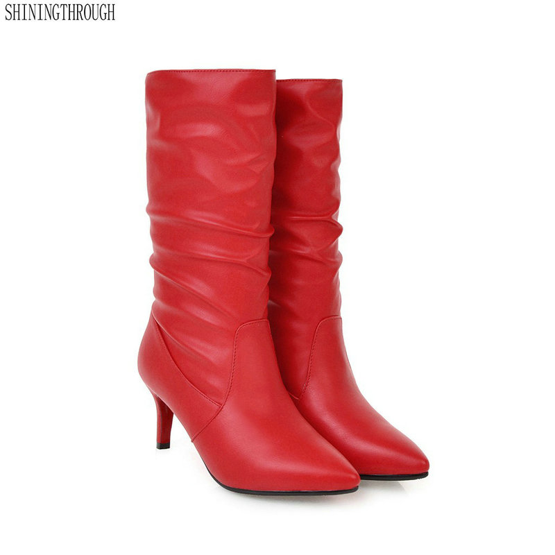 Women Boots 7CM High Heels Pointed Toe Snow Boots Woman Shoes Black red Women winter Boots
