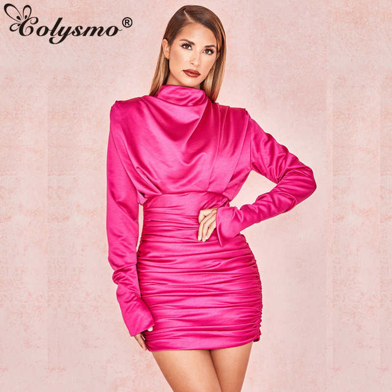 Colysmo Sexy Satin Dress Women Summer Bodycon Dress Blue Turtleneck Long  Sleeve Elastic Ruched Party Dress a56c69bf40cc