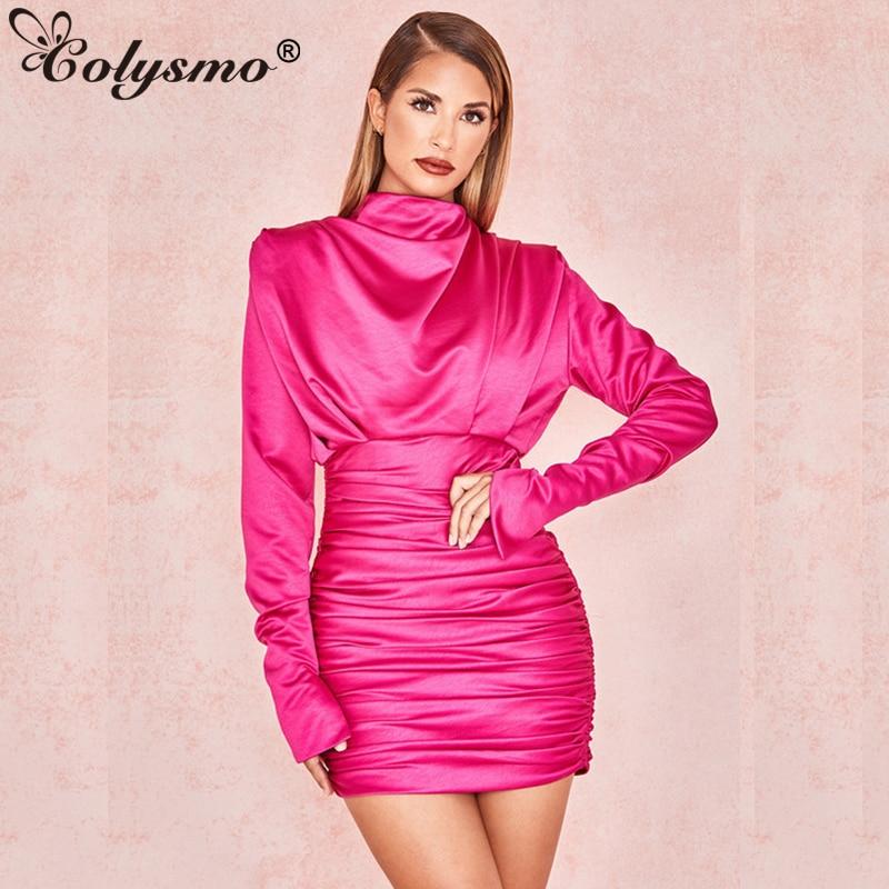 Long bodycon satin dress