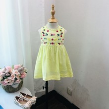 baby girls summer dresses pink embroidery flower frock for kids girl clothing cotton children wedding YY