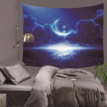 Fancy Cartoon Moon Cosmos Explore Polyester Tapestry Children Bedroom Wall Hanging Gobelin Bedding Cover Home Decor  HA3