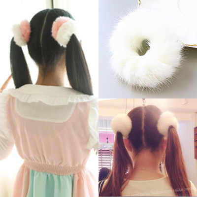 Imitation Rabbit Hair Rubber Band For Girl Soft Fur Ponytail Holders Hairdress Elasic Hair Bands Scrunchies Hair Ring 2pcs/lot