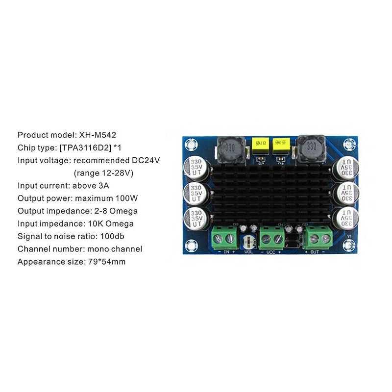 Dc 12V 24V 100W Tpa3116 D2 Da Mono Channel Digital Power Audio Amplifier Board