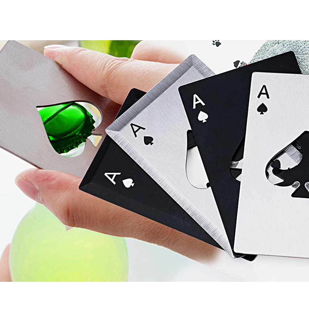 Hot Stainless Steel Portable Bottle Opener Poker Opener Playing Card of Spades Soda Beer Bottle Cap Opener Camping Multi Tools in Outdoor Tools from Sports Entertainment