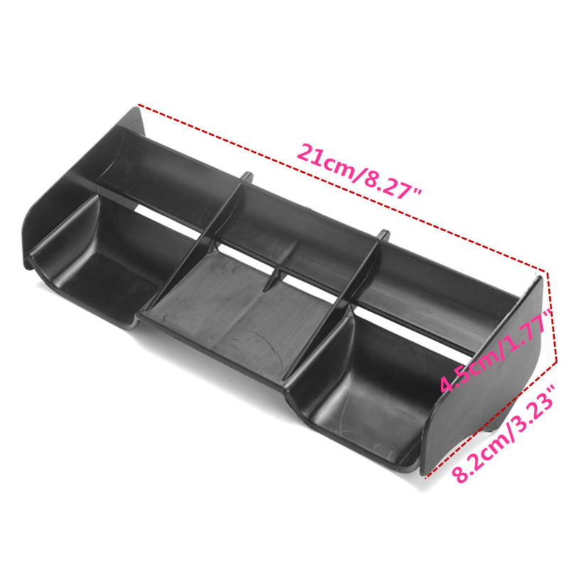 1x New Black Plastic Rear Wing Fit For 1:8 Buggy RC Cars Off Road 21*8.2*4.5cm