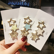 Hot Ins Korean Girls Hairpins Luxury Metal Golden Star Shape Hairgrips Painting Solid Color Fringe Hair Clips Accessories