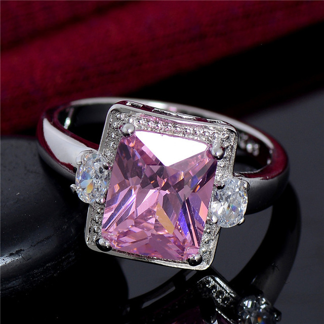 SHUANGR Top Quality Big Promotion Silver Color Pink Clear Cubic Zirconia Rings W