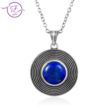 2019 new listing S925 sterling silver retro round blue lapis lazuli pendant necklace ladies handmade beautiful jewelry gifts who deer king jewelry wholesale s925 antique sterling silver pendant brooch dual use natural lapis inlay technique