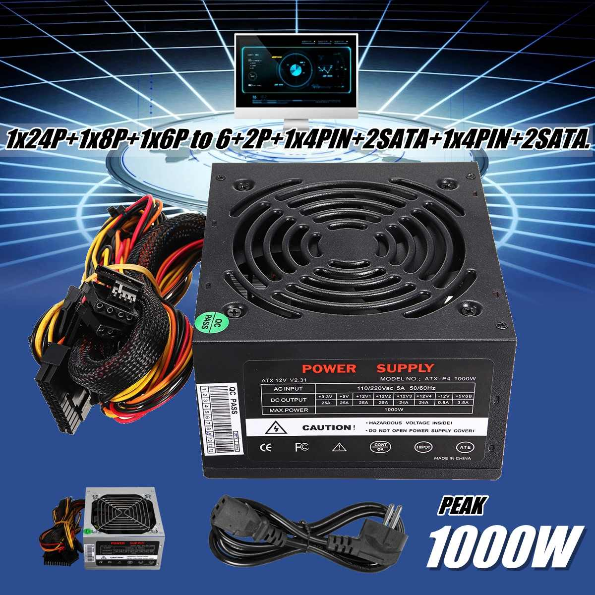 Max 1000W Power Supply PSU PFC Silent Fan ATX 24pin 12V PC Computer SATA Gaming PC Power Supply For Intel AMD Computer Black