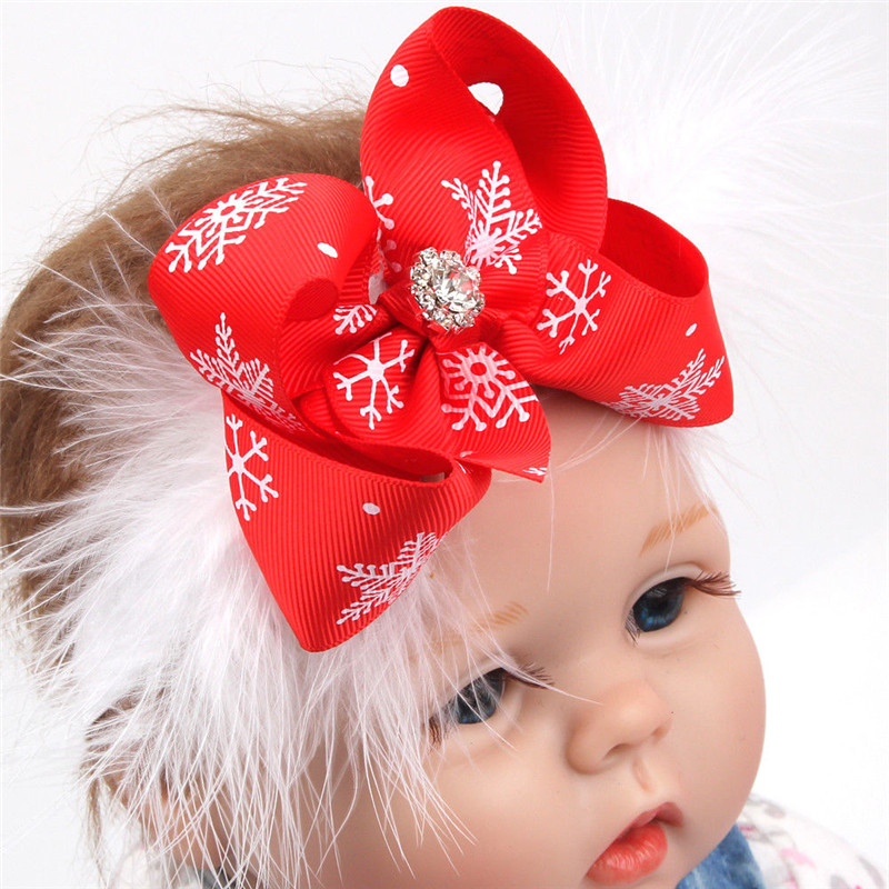 2018 Baby Girl Toddler Xmas Bow Crown Headband Feather Hair Band Red Christmas Headwear Accessories