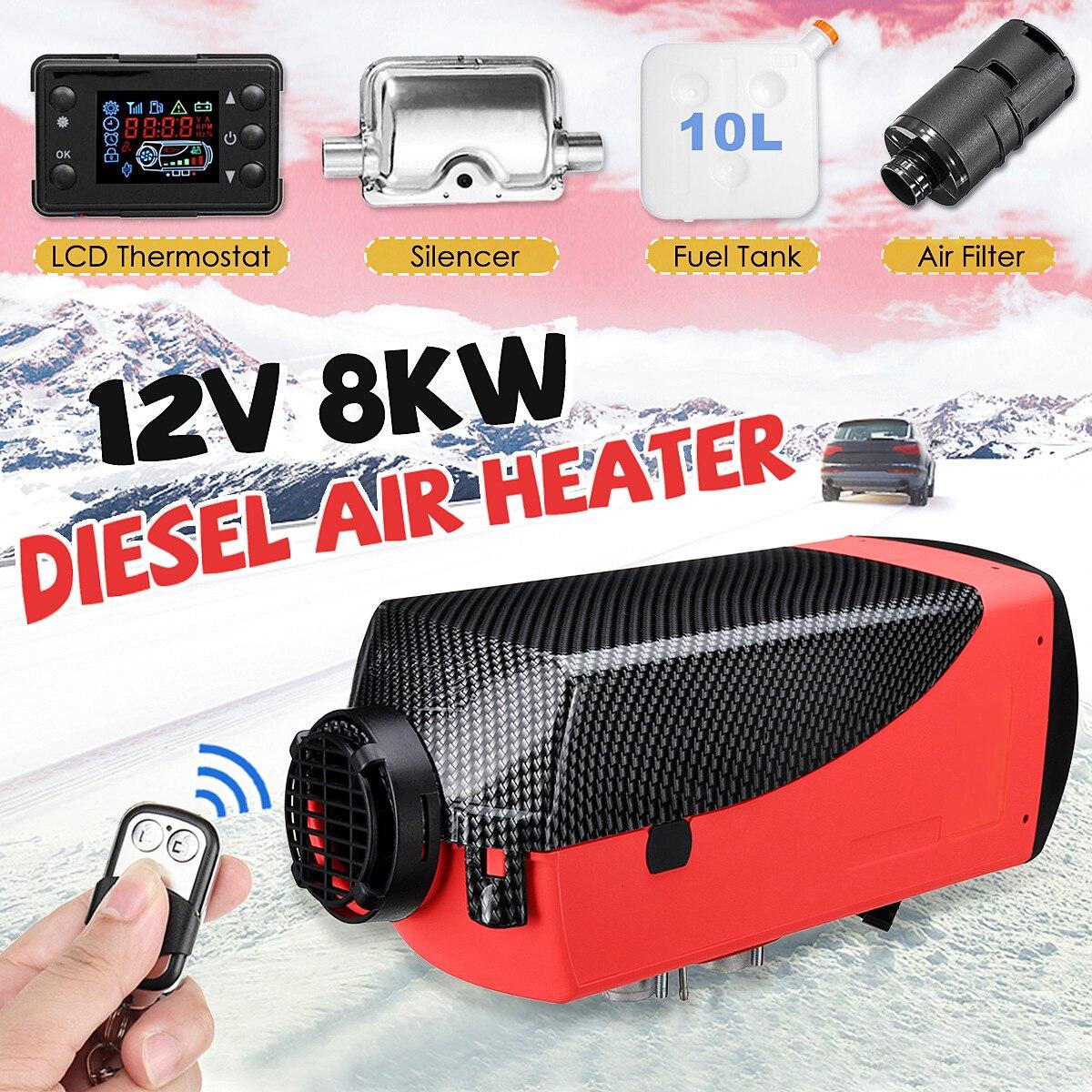 Chauffage de la voiture 8KW 12 v Air Diesels Chauffe Parking Chauffe-Avec Télécommande LCD Moniteur Pour RV, camping-car Remorque, Camions, Bateaux
