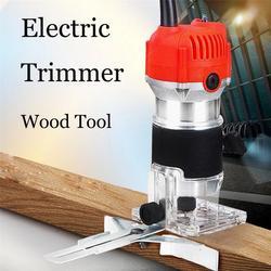 220V 800w 30000r/min Collet 6.35mm ue wtyczka przewodowa elektryczna ręczna przycinarka drewna Laminator Router stolarki narzędzia aluminium + plastik w Elektryczne trymery od Narzędzia na